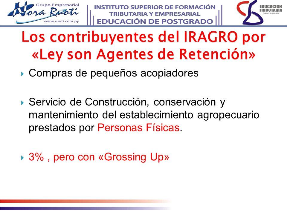 Los contribuyentes del IRAGRO por «Ley son Agentes de Retención»