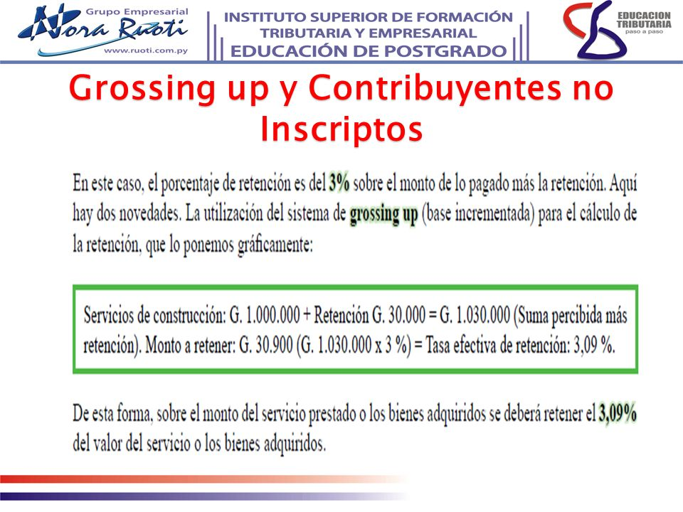 Grossing up y Contribuyentes no Inscriptos