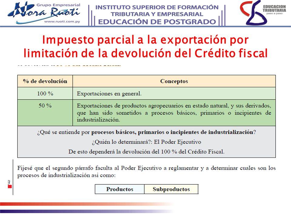 Impuesto parcial a la exportación por limitación de la devolución del Crédito fiscal