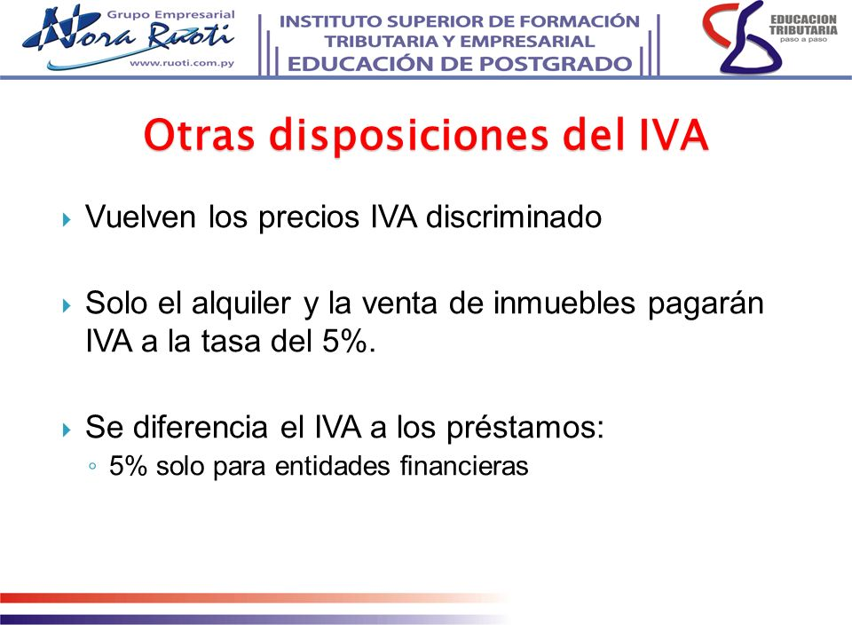 Otras disposiciones del IVA