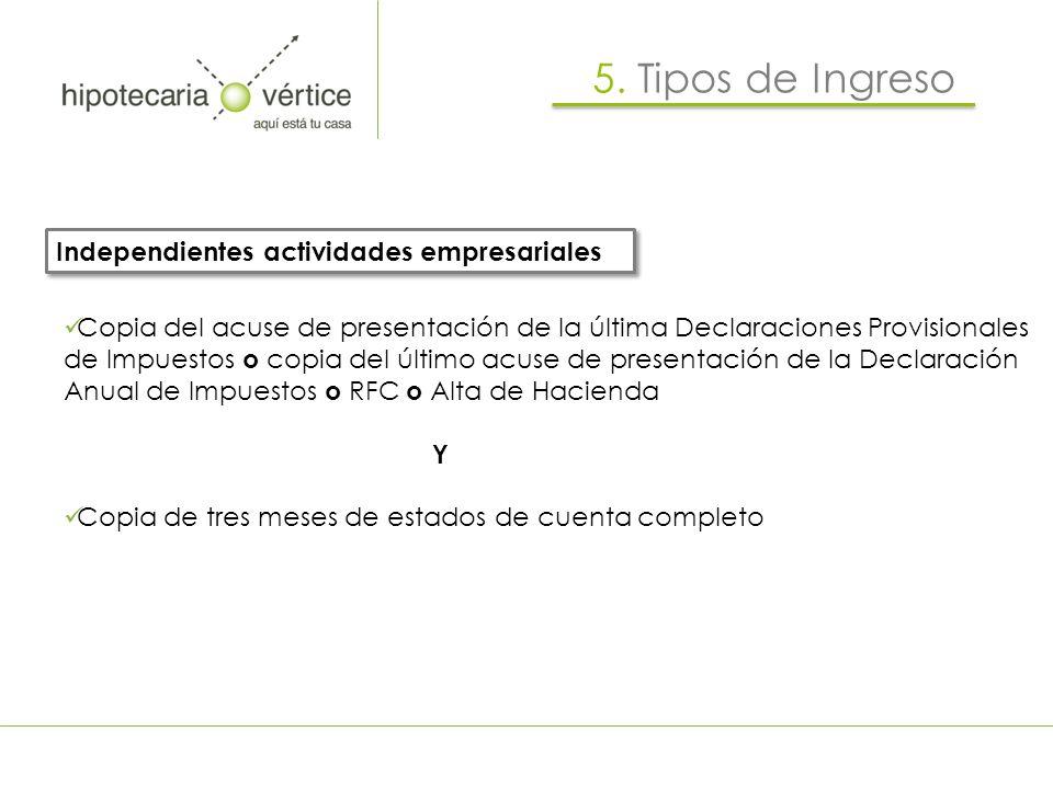 5. Tipos de Ingreso Independientes actividades empresariales
