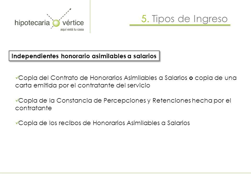 5. Tipos de Ingreso Independientes honorario asimilables a salarios