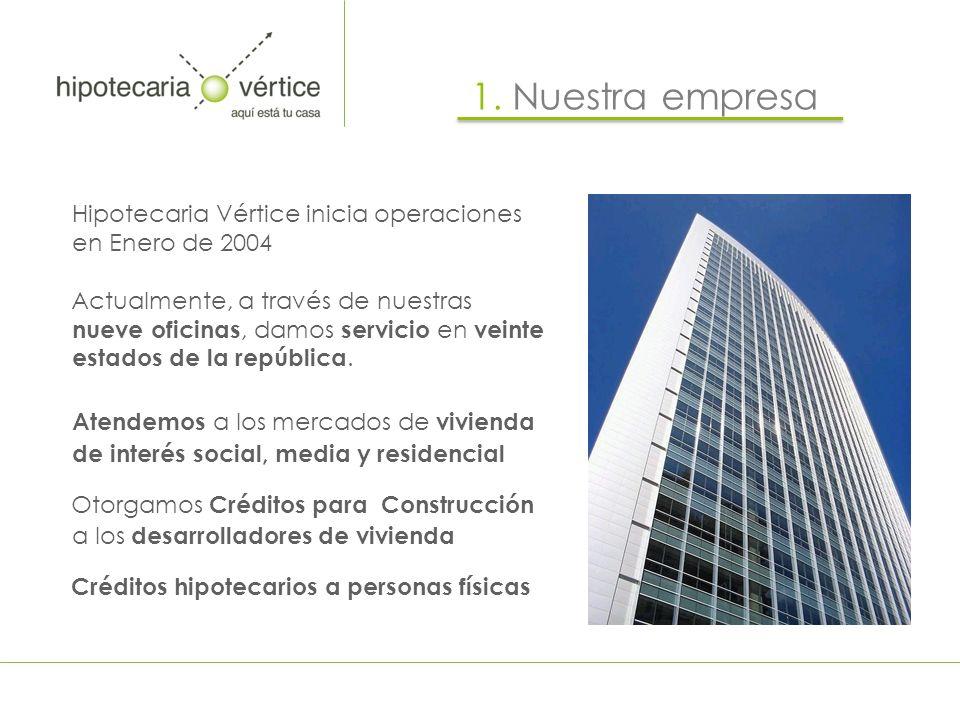 1. Nuestra empresa Hipotecaria Vértice inicia operaciones en Enero de 2004.