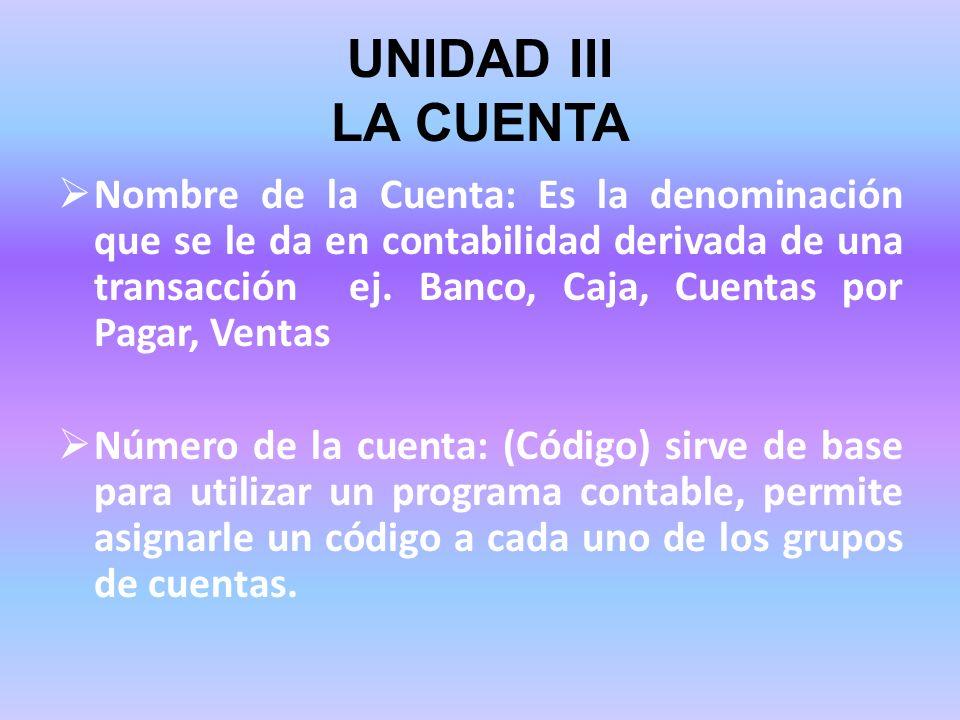 UNIDAD III LA CUENTA