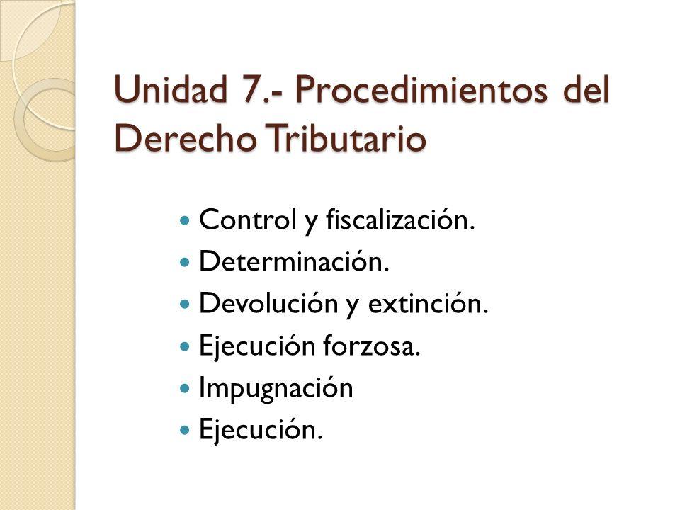 Unidad 7.- Procedimientos del Derecho Tributario