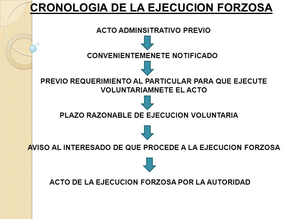 CRONOLOGIA DE LA EJECUCION FORZOSA