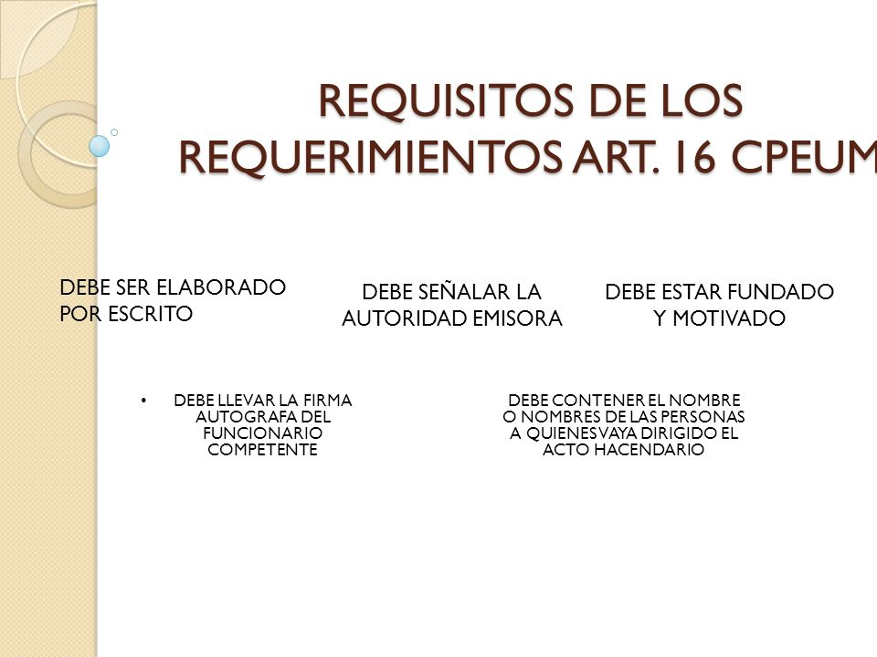 REQUISITOS DE LOS REQUERIMIENTOS ART. 16 CPEUM
