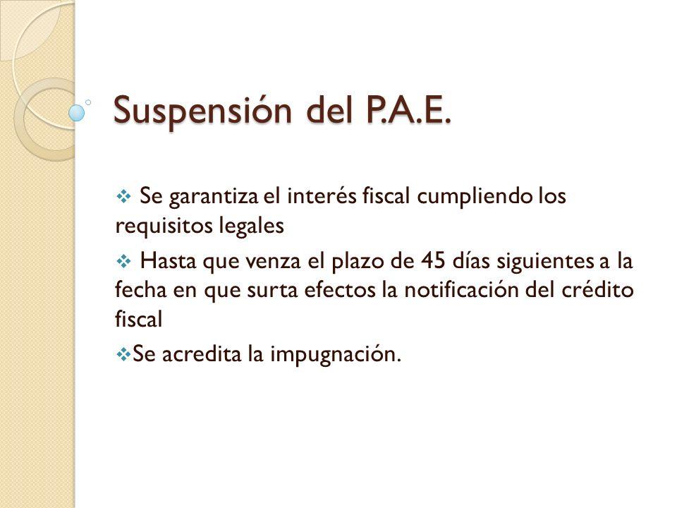 Suspensión del P.A.E. Se garantiza el interés fiscal cumpliendo los requisitos legales.