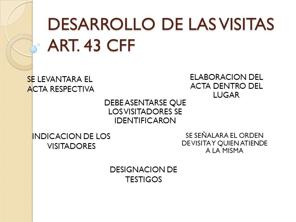 DESARROLLO DE LAS VISITAS ART. 43 CFF