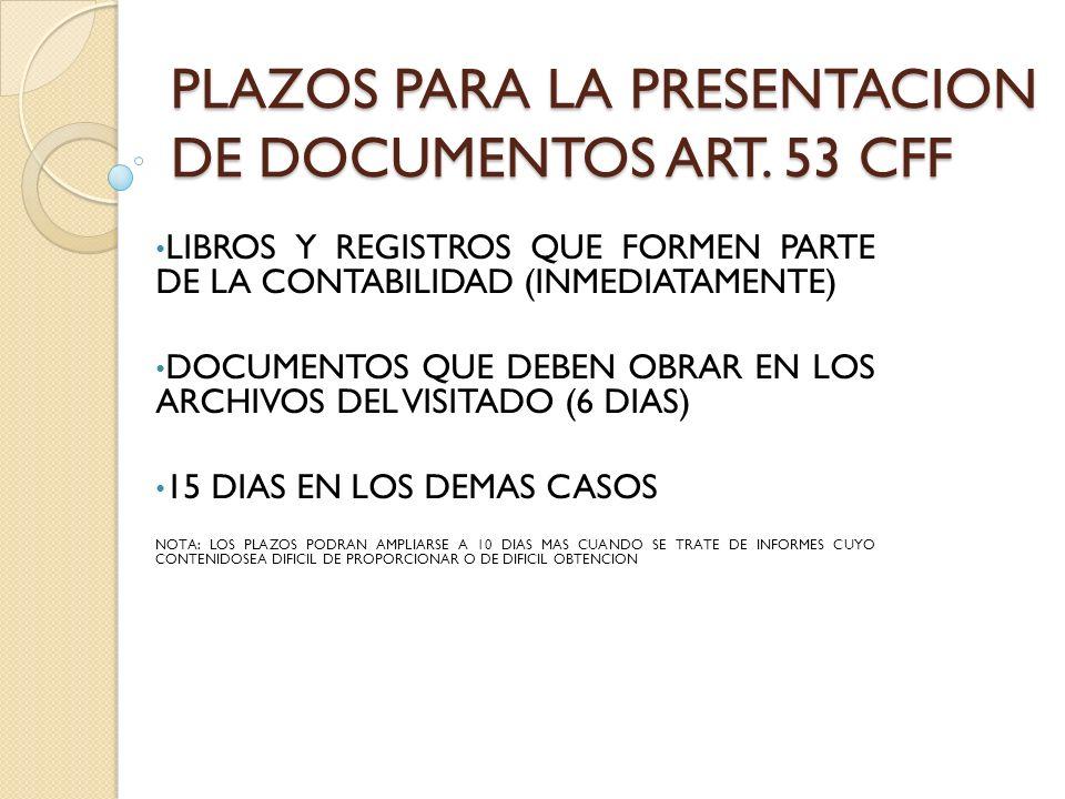 PLAZOS PARA LA PRESENTACION DE DOCUMENTOS ART. 53 CFF