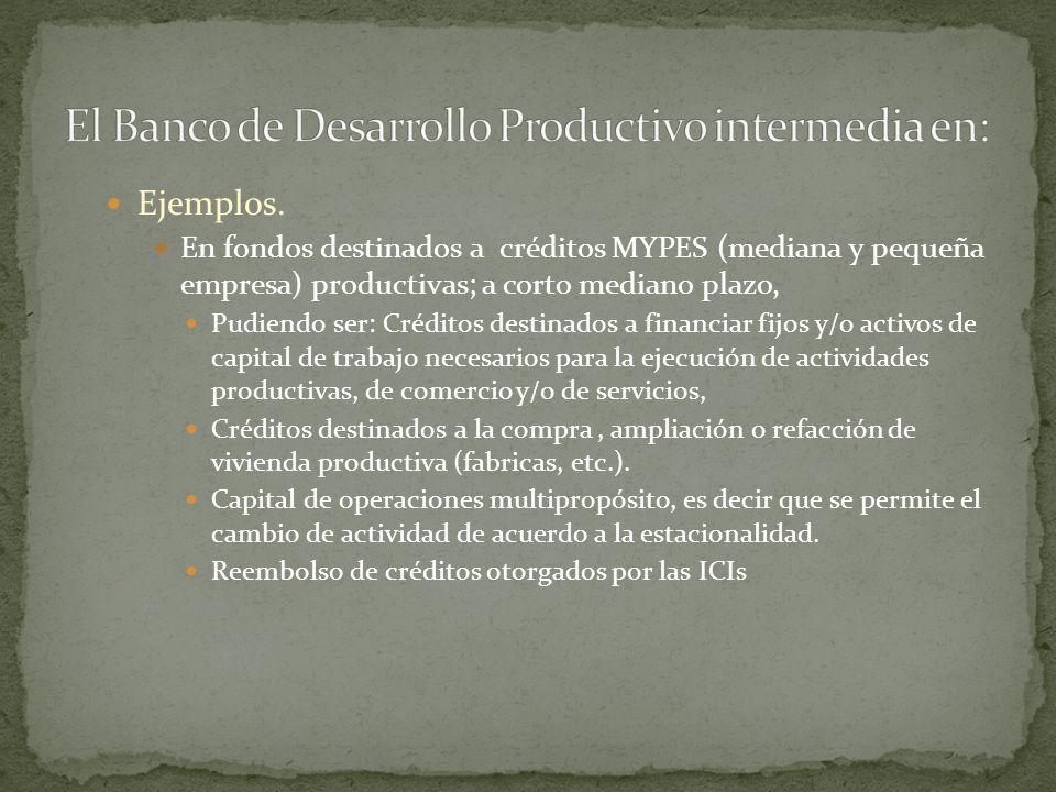 El Banco de Desarrollo Productivo intermedia en: