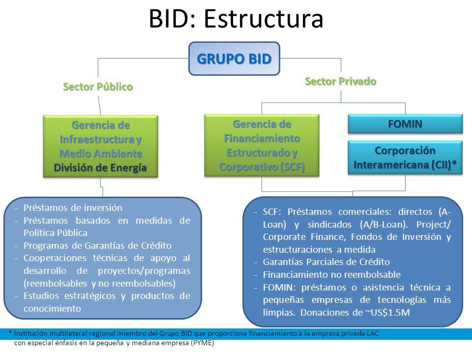 BID: Estructura GRUPO BID Sector Privado Sector Público
