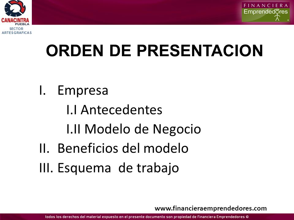 ORDEN DE PRESENTACION Empresa I.I Antecedentes I.II Modelo de Negocio
