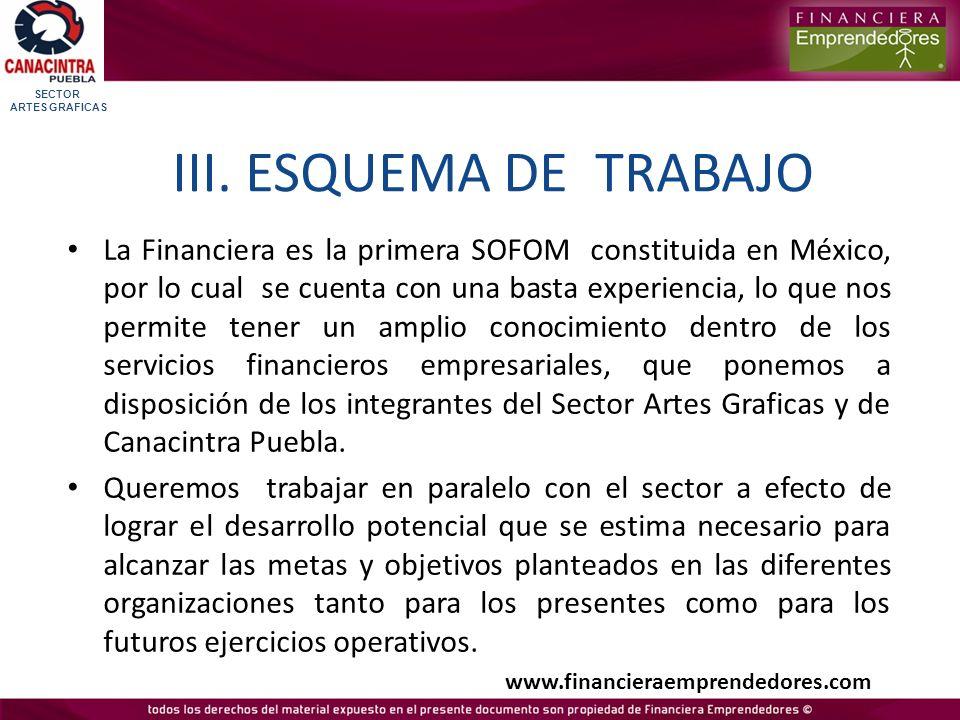 SECTOR ARTES GRAFICAS. III. ESQUEMA DE TRABAJO.