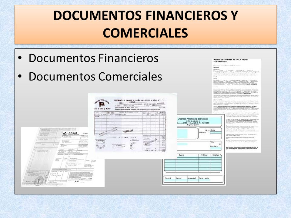 DOCUMENTOS FINANCIEROS Y COMERCIALES