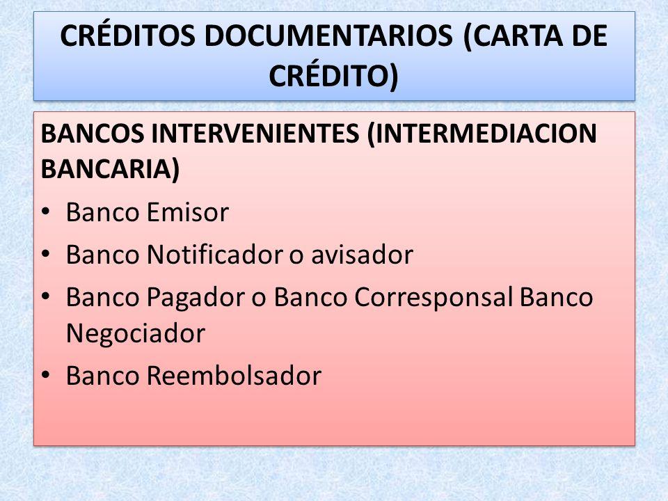 CRÉDITOS DOCUMENTARIOS (CARTA DE CRÉDITO)