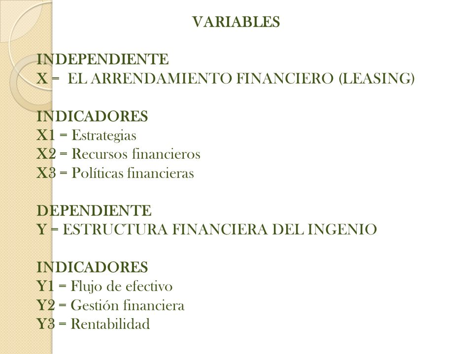 VARIABLES INDEPENDIENTE. X = EL ARRENDAMIENTO FINANCIERO (LEASING) INDICADORES. X1 = Estrategias.