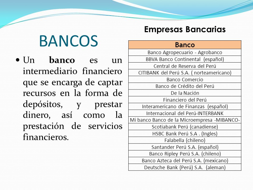 BANCOS Empresas Bancarias. Banco. Banco Agropecuario - Agrobanco. BBVA Banco Continental (español)