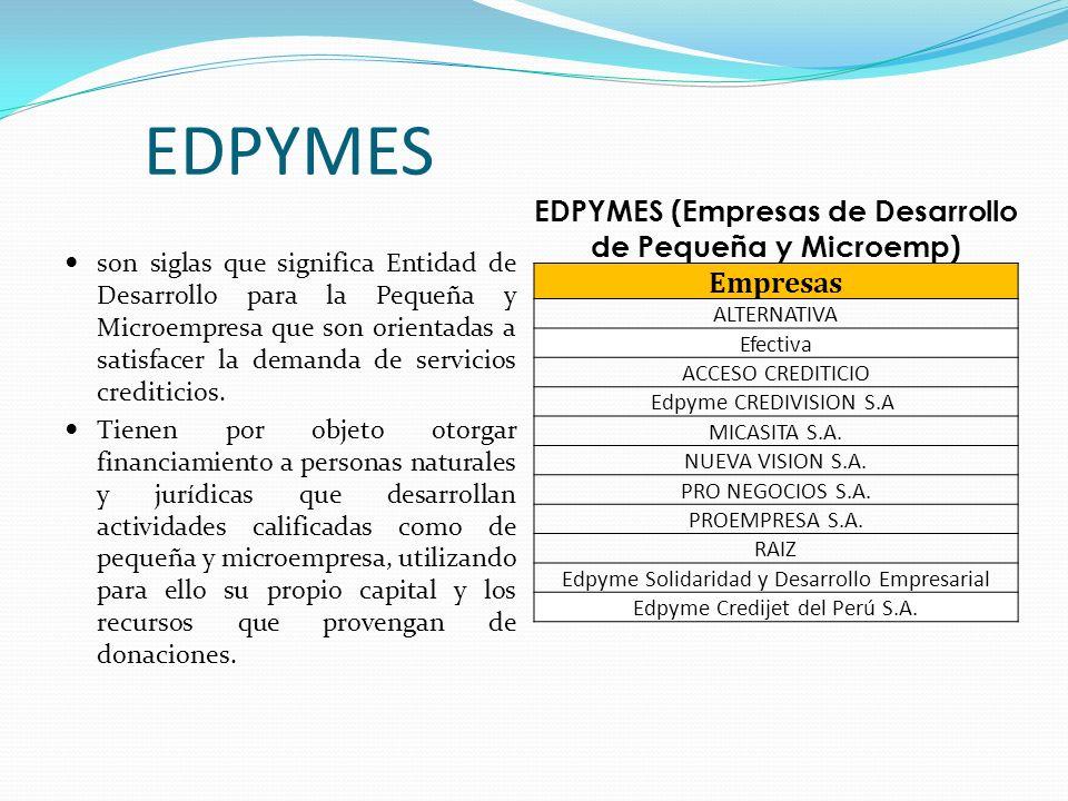 EDPYMES (Empresas de Desarrollo de Pequeña y Microemp)