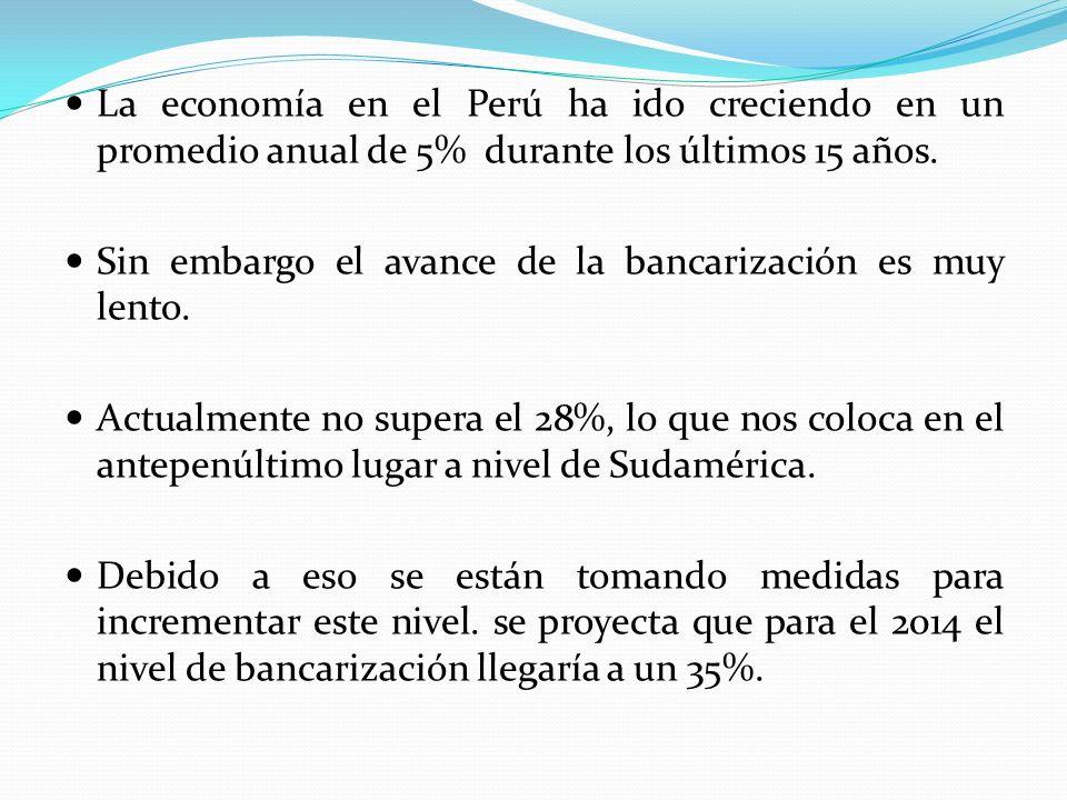 La economía en el Perú ha ido creciendo en un promedio anual de 5% durante los últimos 15 años.