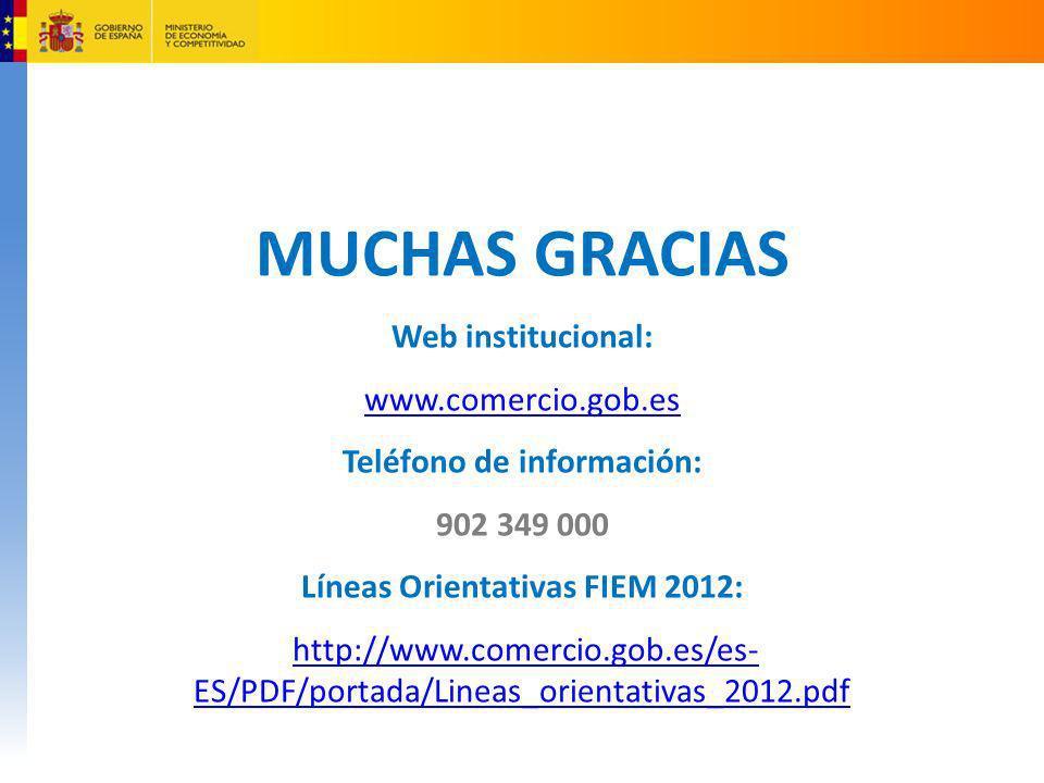 Teléfono de información: Líneas Orientativas FIEM 2012: