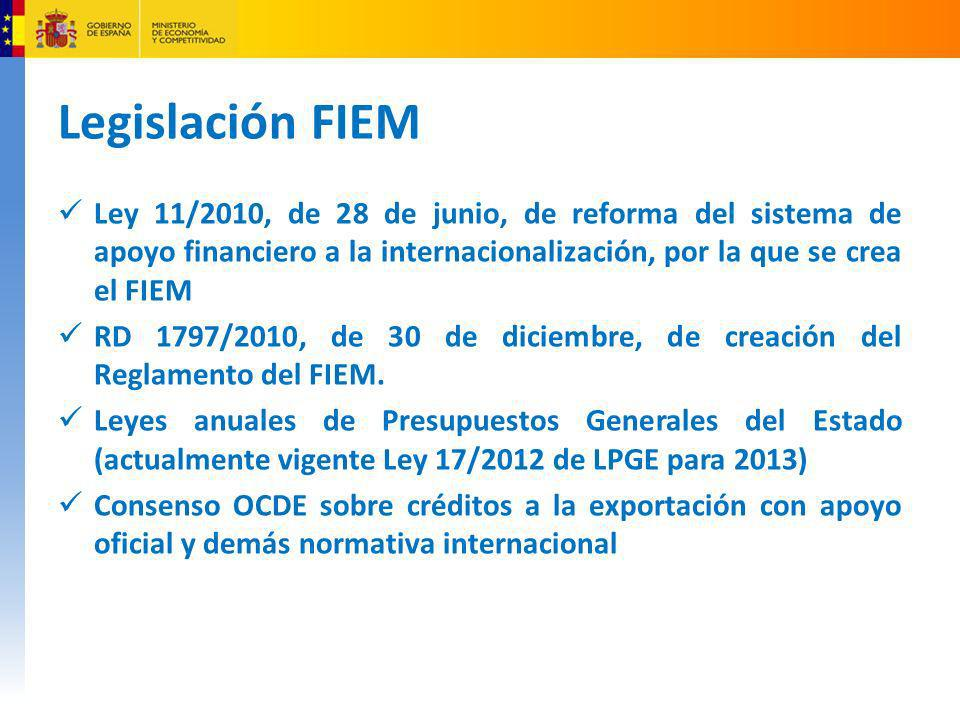 Legislación FIEM Ley 11/2010, de 28 de junio, de reforma del sistema de apoyo financiero a la internacionalización, por la que se crea el FIEM.