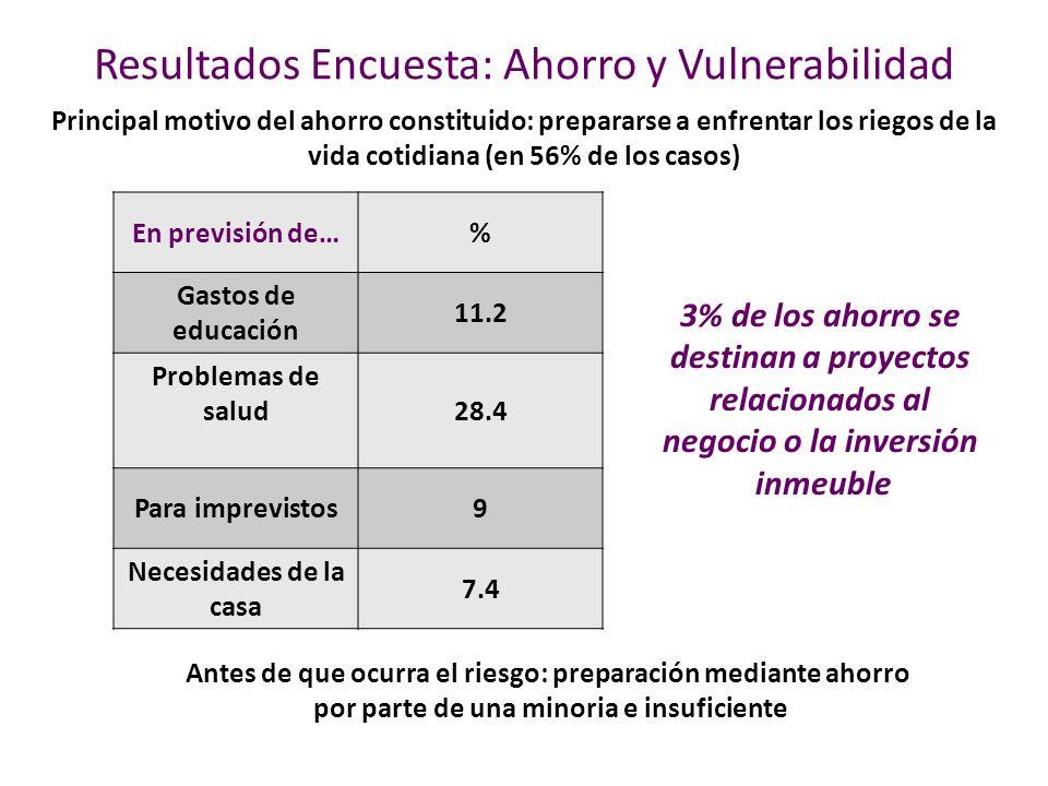 Resultados Encuesta: Ahorro y Vulnerabilidad