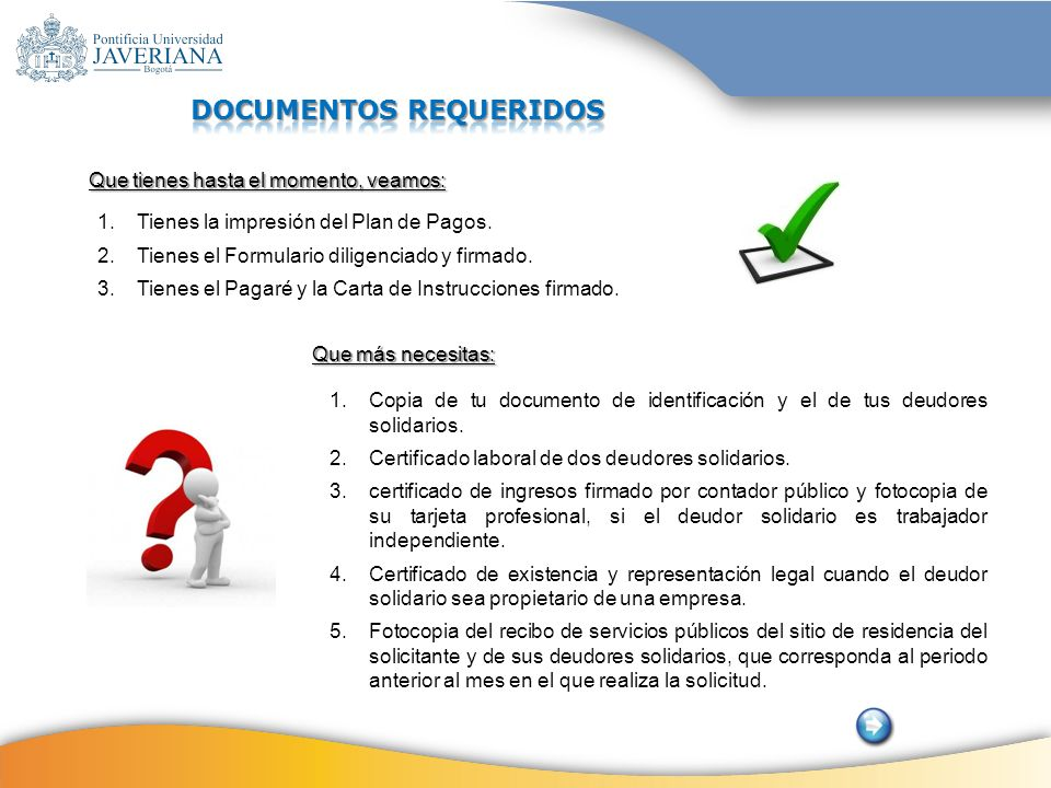 DOCUMENTOS REQUERIDOS