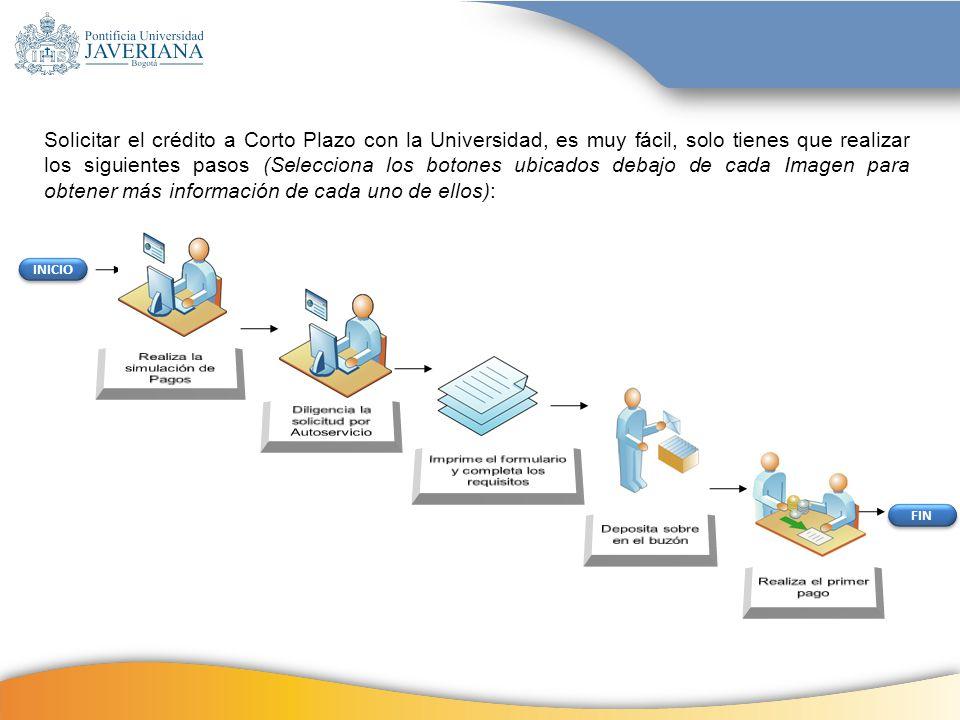 Solicitar el crédito a Corto Plazo con la Universidad, es muy fácil, solo tienes que realizar los siguientes pasos (Selecciona los botones ubicados debajo de cada Imagen para obtener más información de cada uno de ellos):