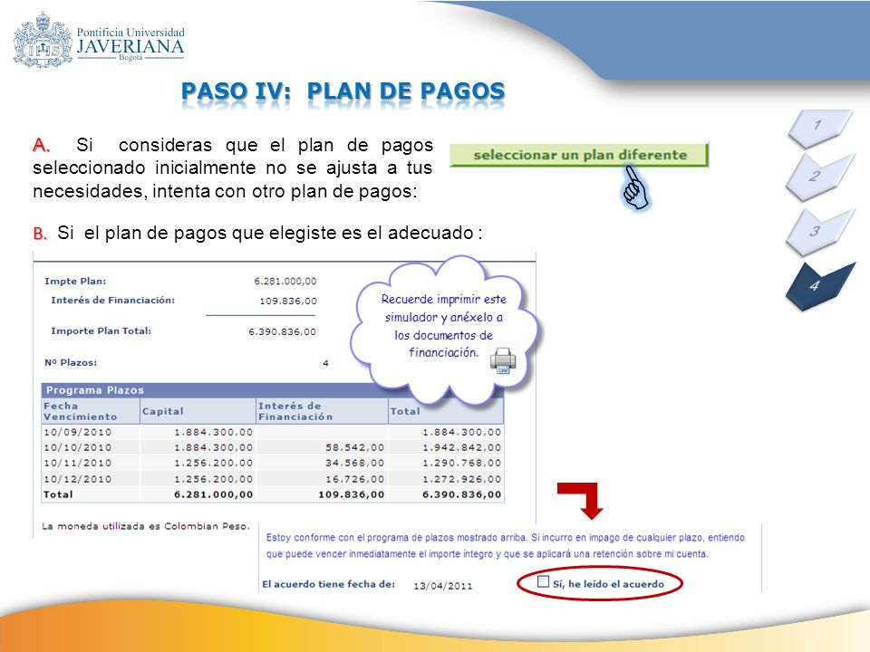 PASO IV: PLAN DE PAGOS 1.