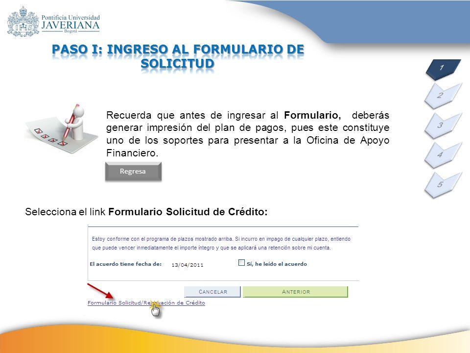 PASO I: INGRESO AL FORMULARIO DE SOLICITUD