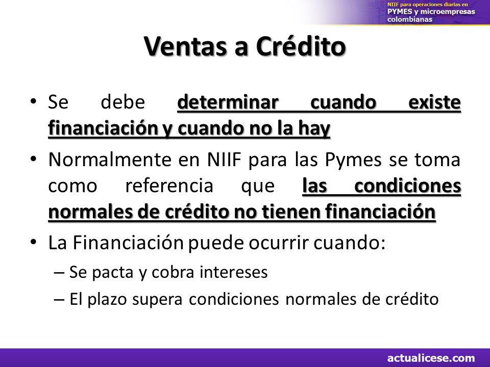 Ventas a Crédito Se debe determinar cuando existe financiación y cuando no la hay.