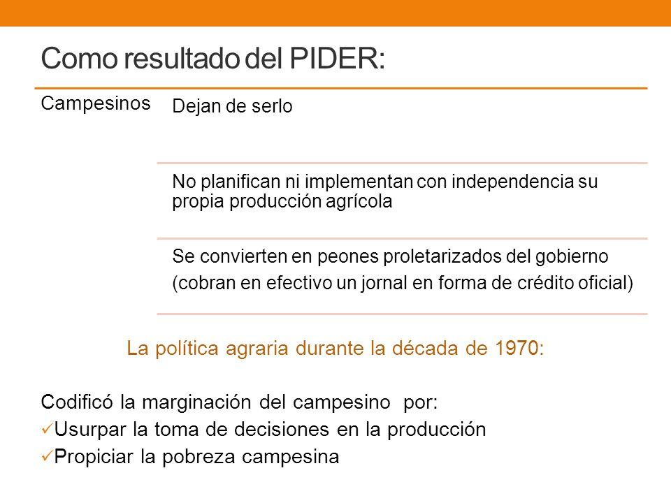Como resultado del PIDER: