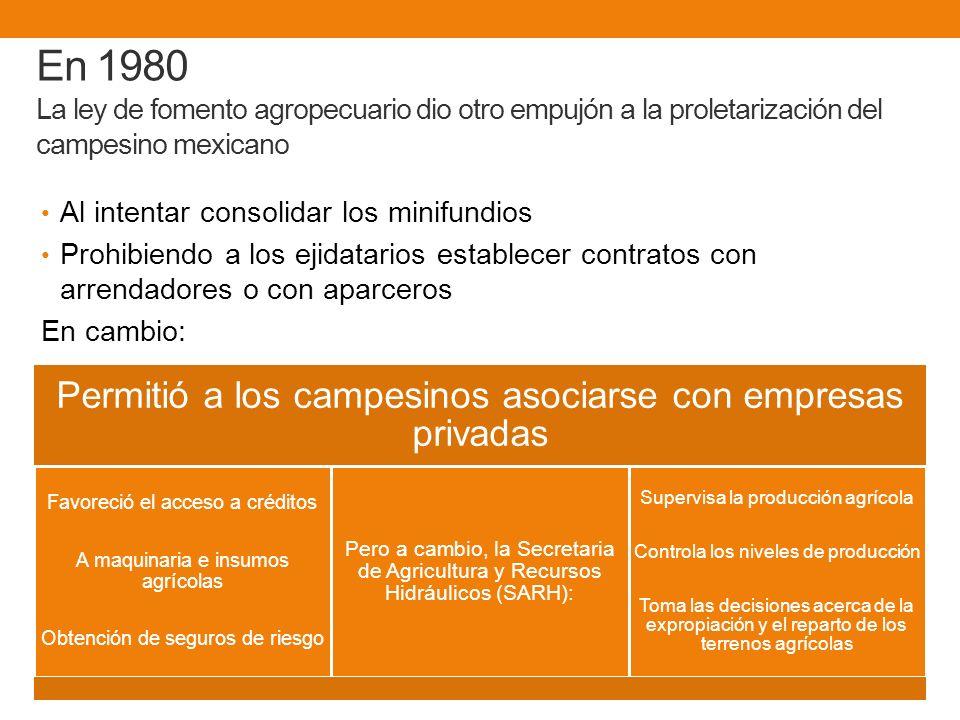 En 1980 La ley de fomento agropecuario dio otro empujón a la proletarización del campesino mexicano