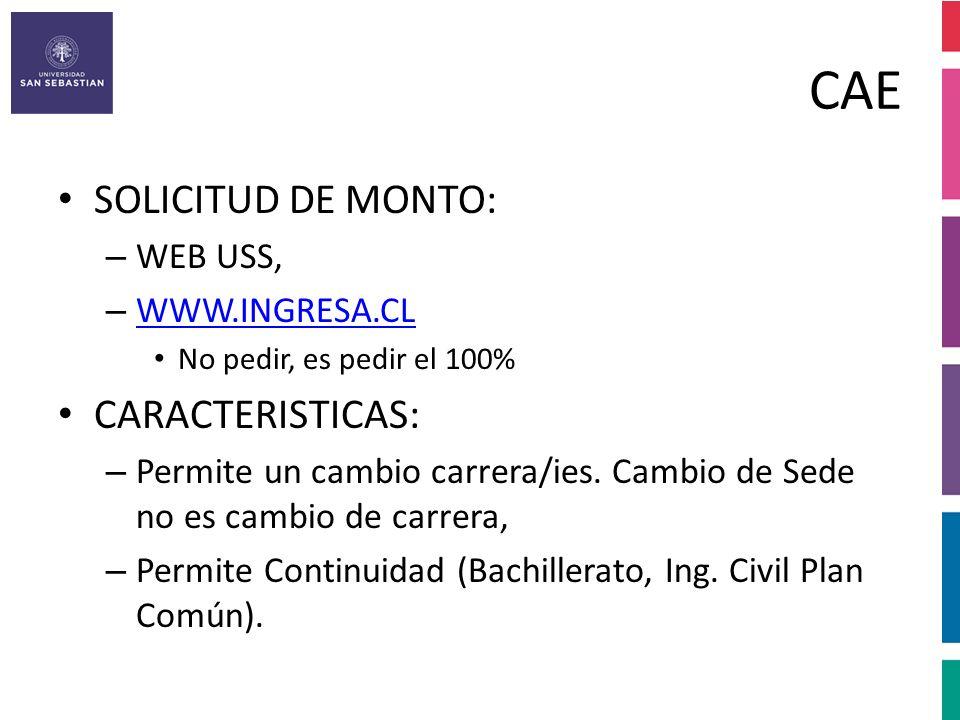 CAE SOLICITUD DE MONTO: CARACTERISTICAS: WEB USS, WWW.INGRESA.CL