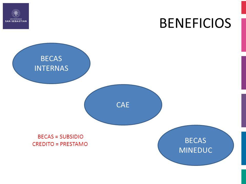 BENEFICIOS BECAS INTERNAS CAE BECAS MINEDUC BECAS = SUBSIDIO