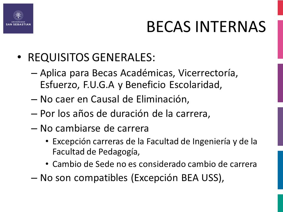 BECAS INTERNAS REQUISITOS GENERALES: