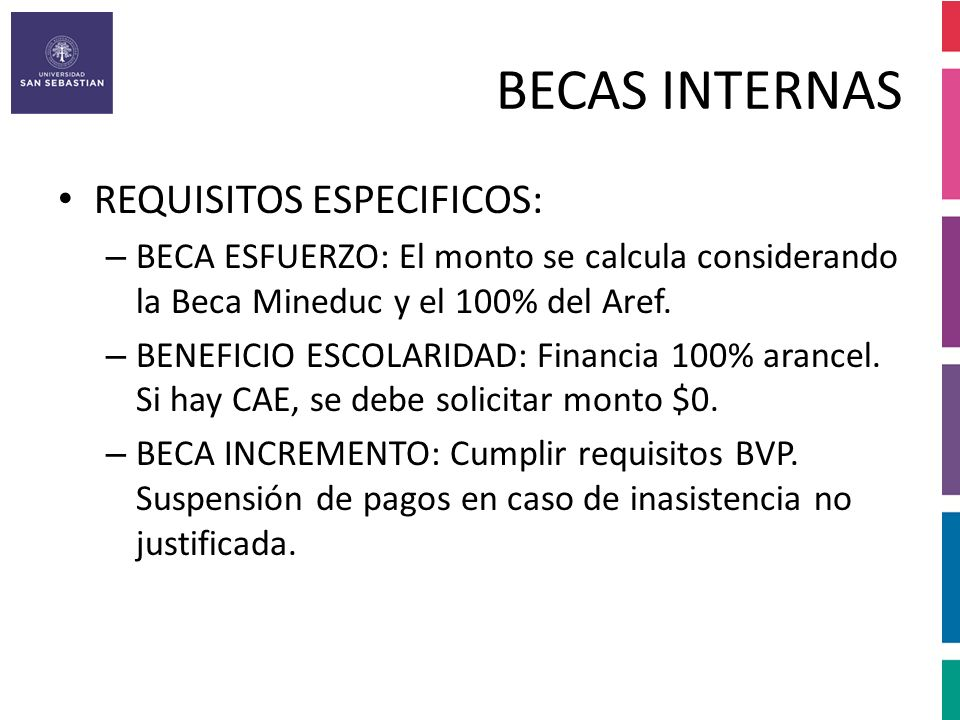 BECAS INTERNAS REQUISITOS ESPECIFICOS: