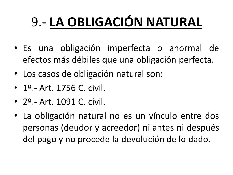 9.- LA OBLIGACIÓN NATURAL