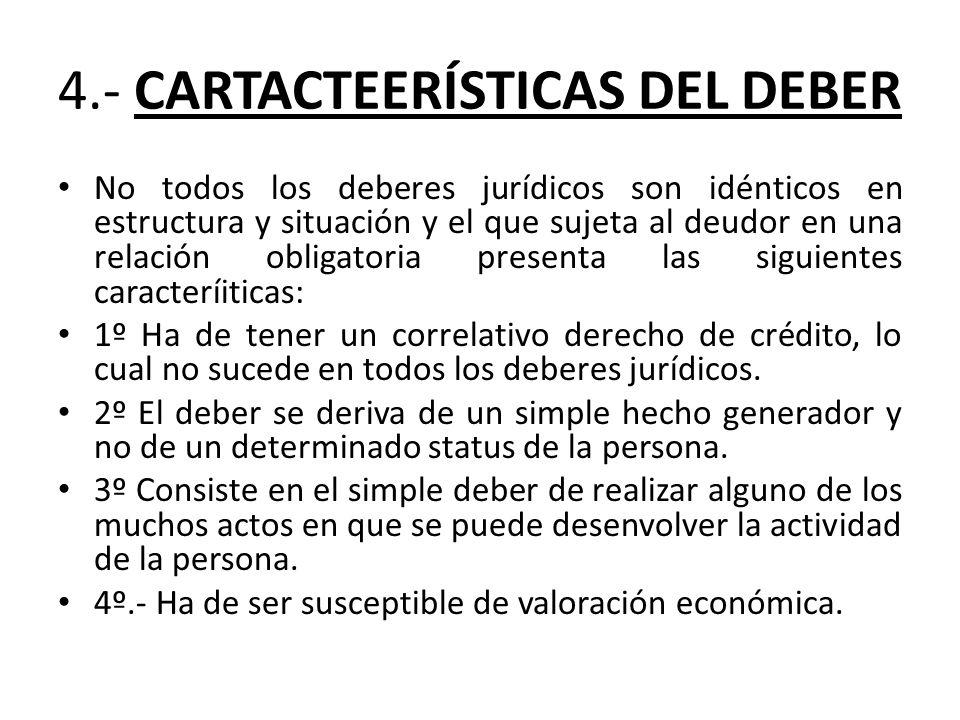 4.- CARTACTEERÍSTICAS DEL DEBER