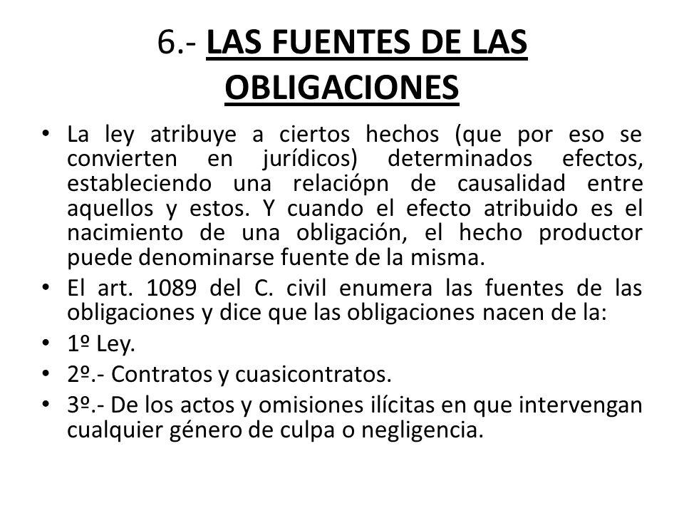 6.- LAS FUENTES DE LAS OBLIGACIONES
