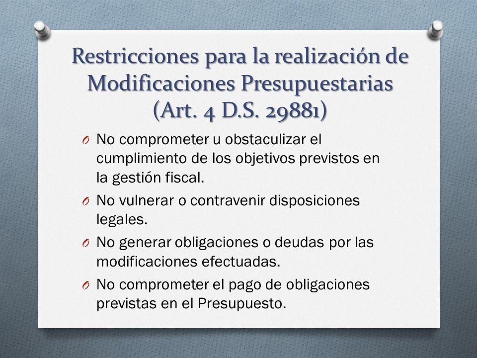 Restricciones para la realización de Modificaciones Presupuestarias (Art. 4 D.S. 29881)