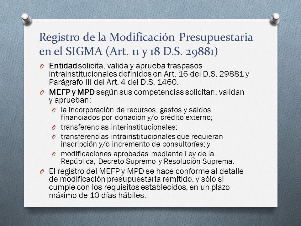 Registro de la Modificación Presupuestaria en el SIGMA (Art. 11 y 18 D
