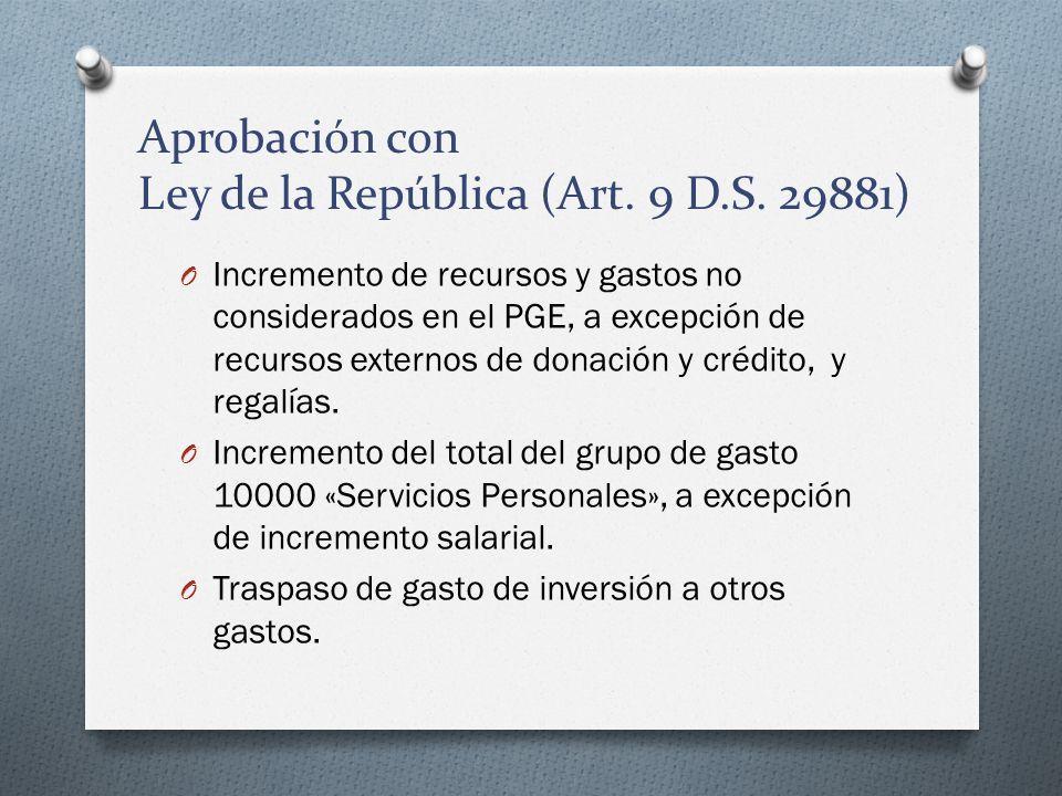 Aprobación con Ley de la República (Art. 9 D.S. 29881)