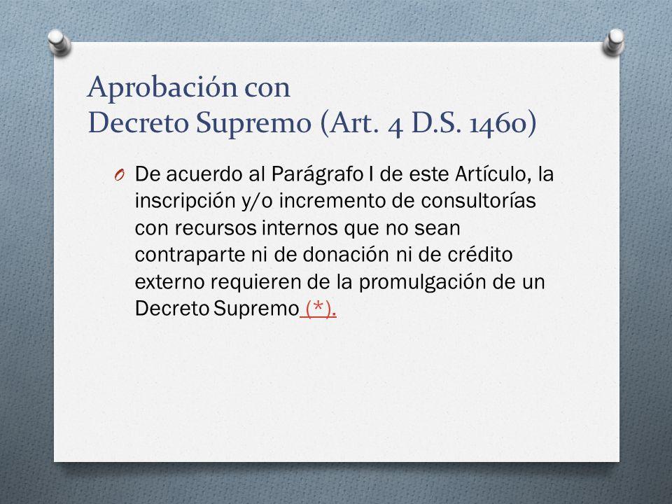 Aprobación con Decreto Supremo (Art. 4 D.S. 1460)