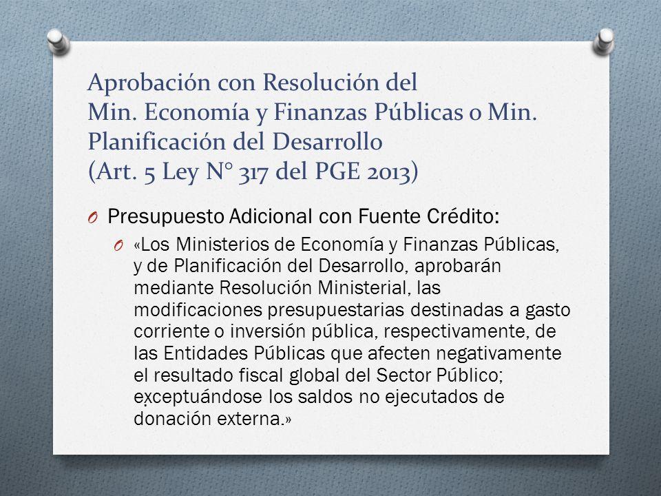 Aprobación con Resolución del Min. Economía y Finanzas Públicas o Min