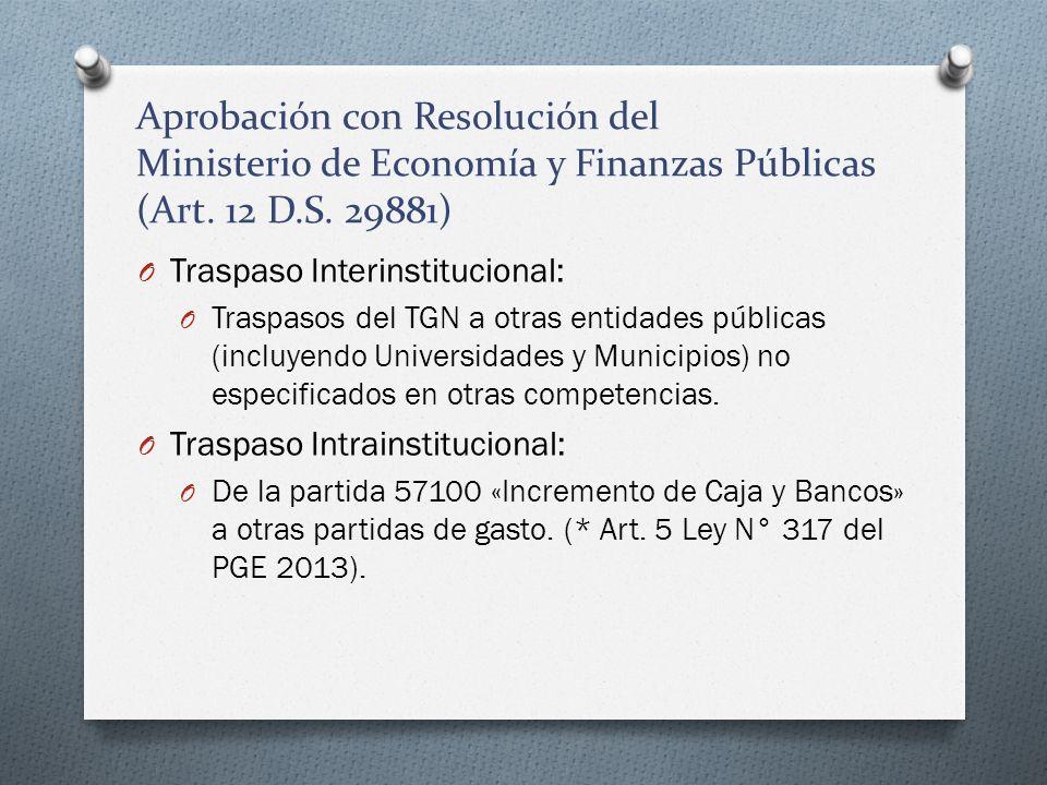Aprobación con Resolución del Ministerio de Economía y Finanzas Públicas (Art. 12 D.S. 29881)