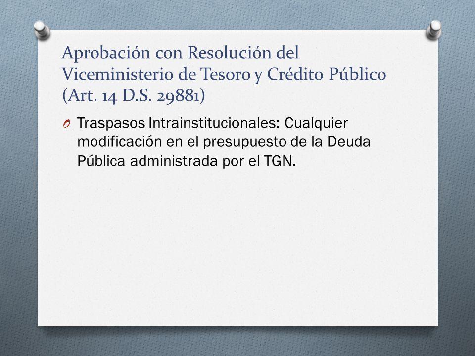 Aprobación con Resolución del Viceministerio de Tesoro y Crédito Público (Art. 14 D.S. 29881)