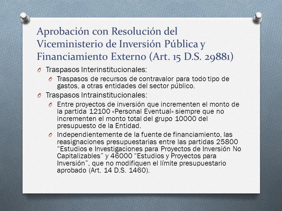 Aprobación con Resolución del Viceministerio de Inversión Pública y Financiamiento Externo (Art. 15 D.S. 29881)