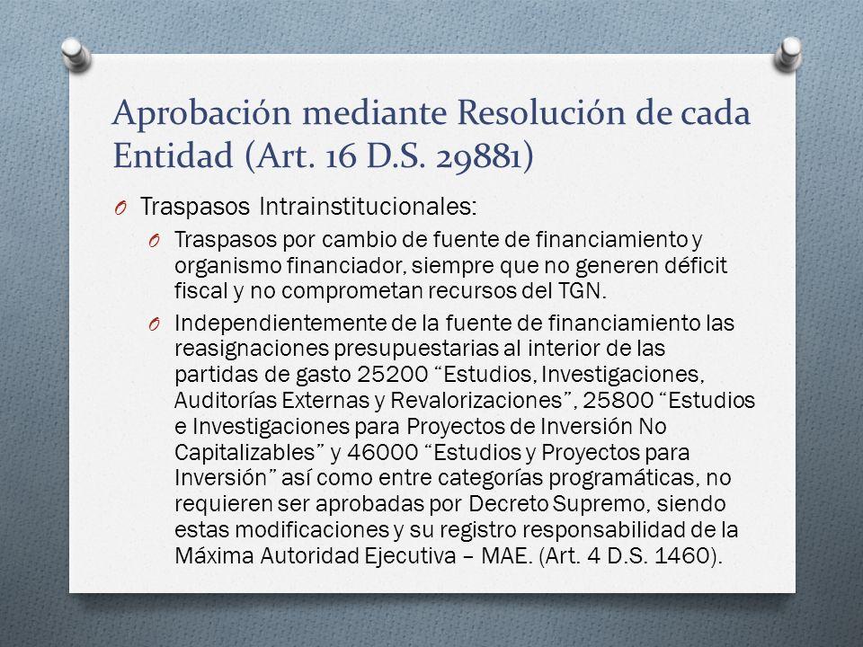 Aprobación mediante Resolución de cada Entidad (Art. 16 D.S. 29881)